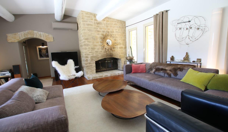 La Roque sur Pernes propriété avec vue salon cheminée